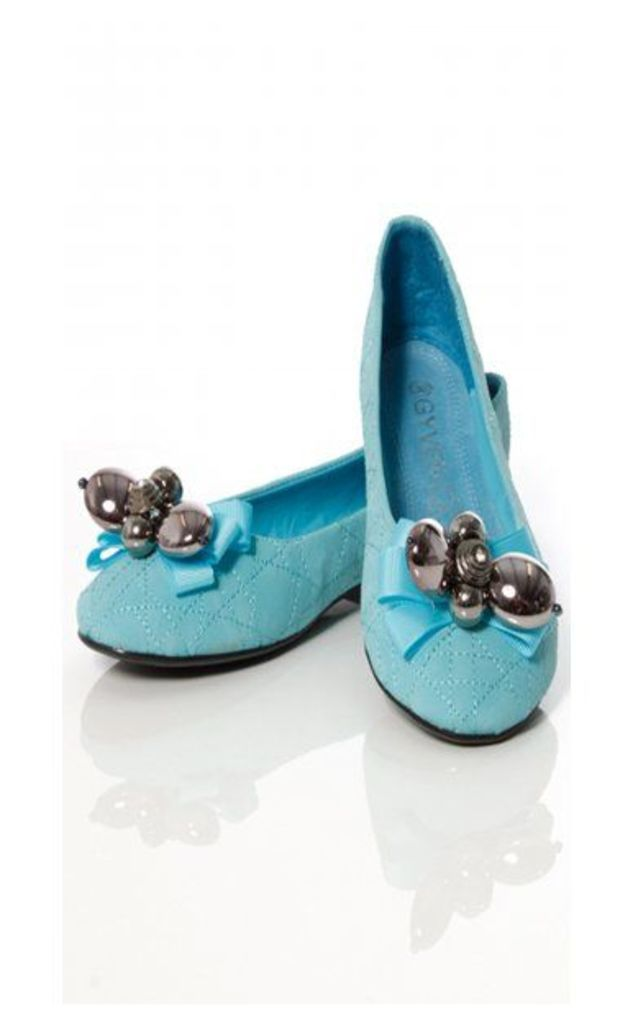 Vintage Maisy Style Beaded Flats In Blue