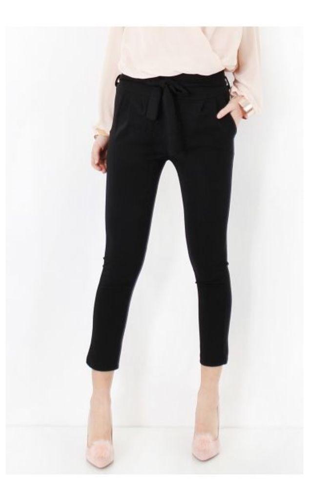 Prini Black Tie Waist Paperbag Trousers