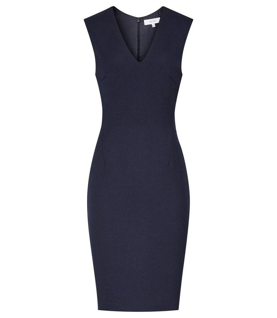 REISS Faulkner Dress - Womens Tailored V-neck Dress in Blue