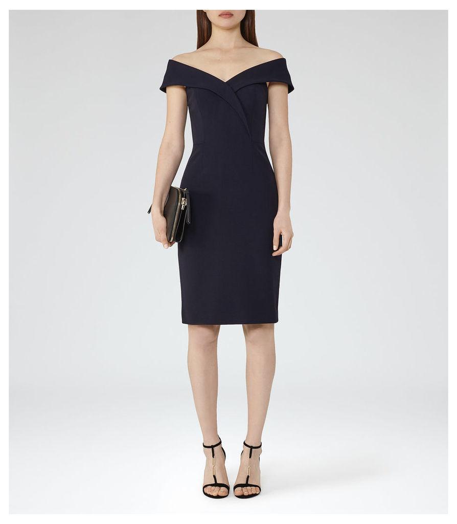 REISS Haddi - Womens Off-the-shoulder Dress in Blue