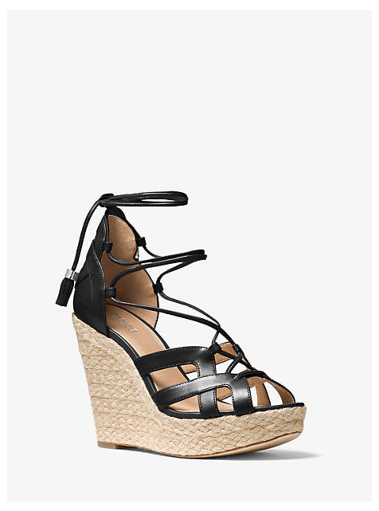 Mirabel Leather Lace-Up Wedge