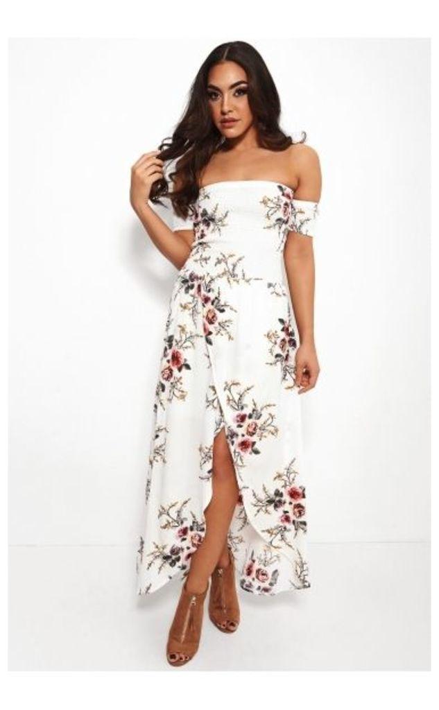 Roco White Floral Front Split Bardot Dress