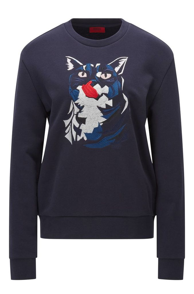 Relaxed-fit cotton sweater with cat embroidery