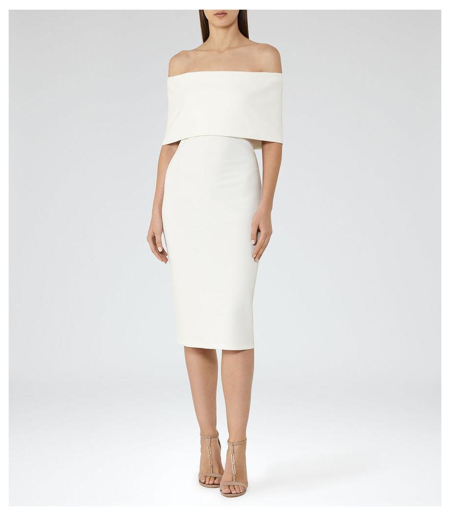 REISS Rafferty - Womens Off-the-shoulder Bodycon Dress in White