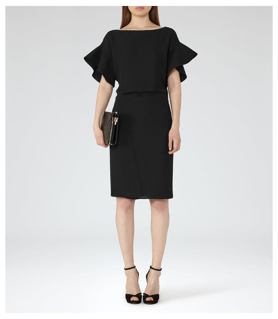 REISS Manila - Womens Peplum-sleeve Dress in Black