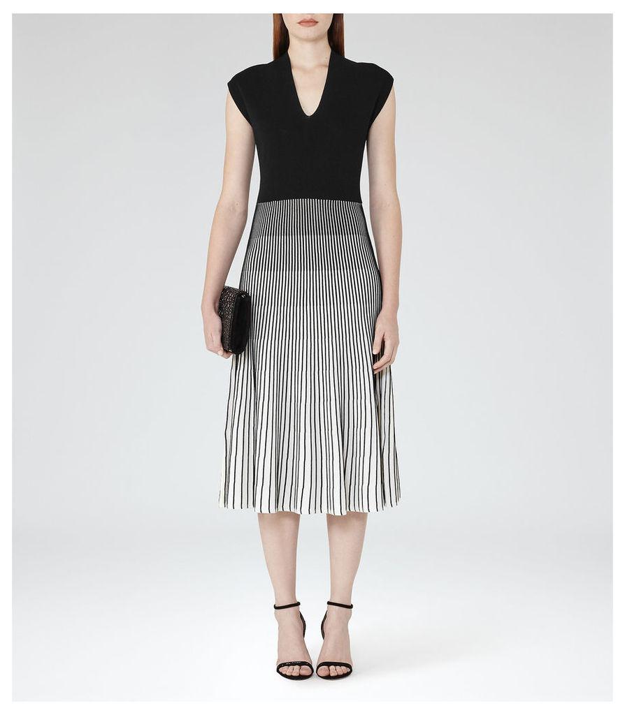 REISS Cedrica - Womens Contrast Plisse Dress in White