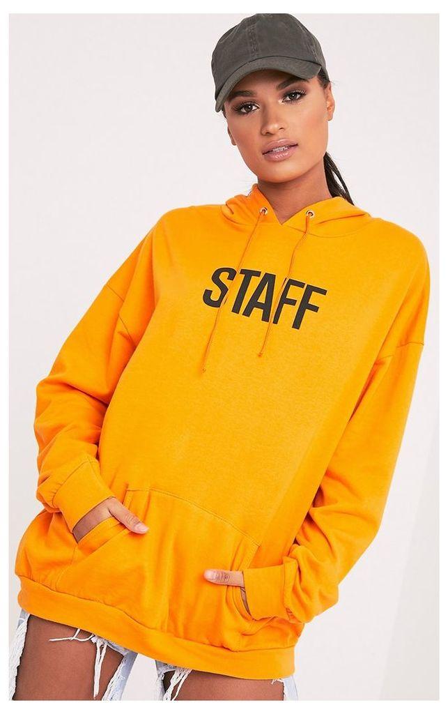 STAFF Slogan Orange Oversized Hoodie, Orange