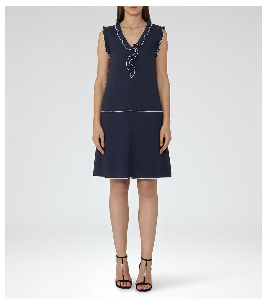 REISS Vivienne - Womens Frill-detail Shift Dress in Blue