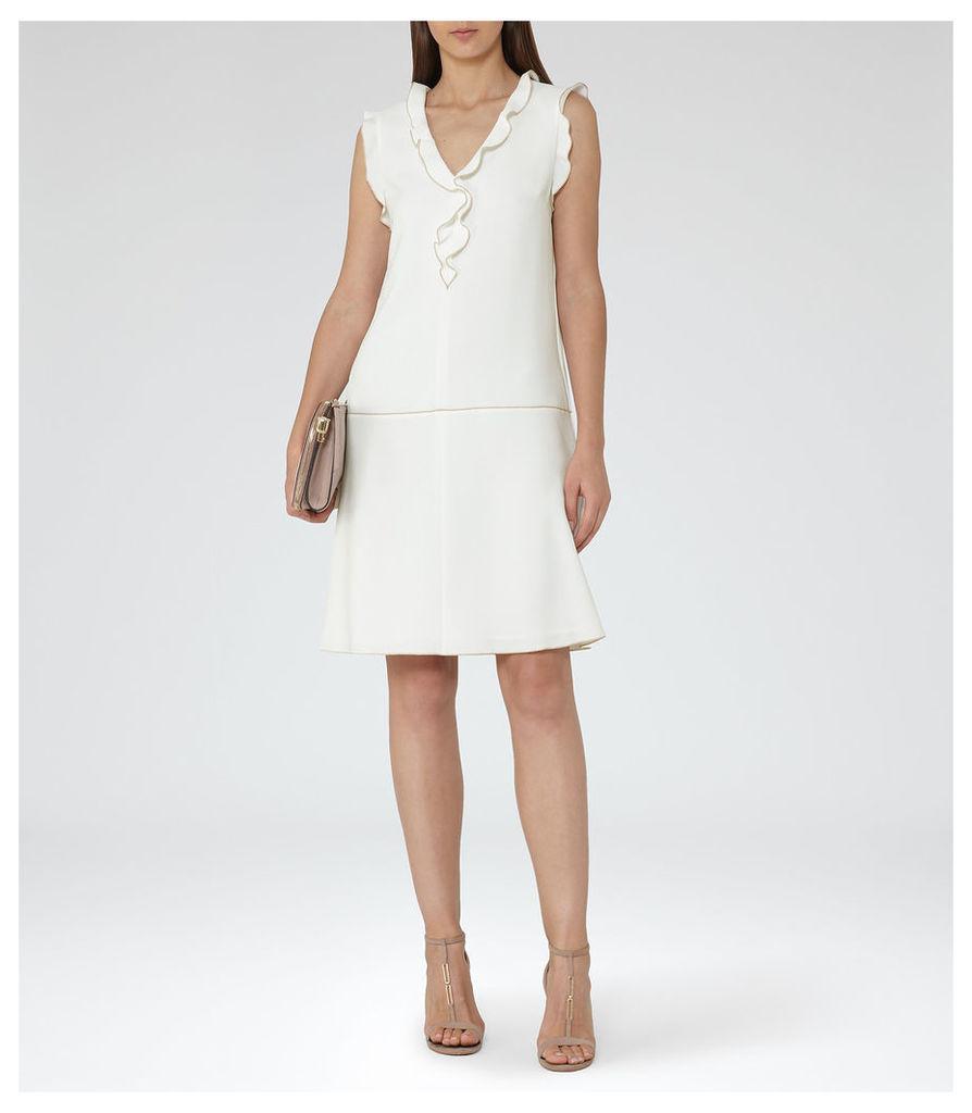 REISS Vivienne - Womens Frill-detail Shift Dress in Cream