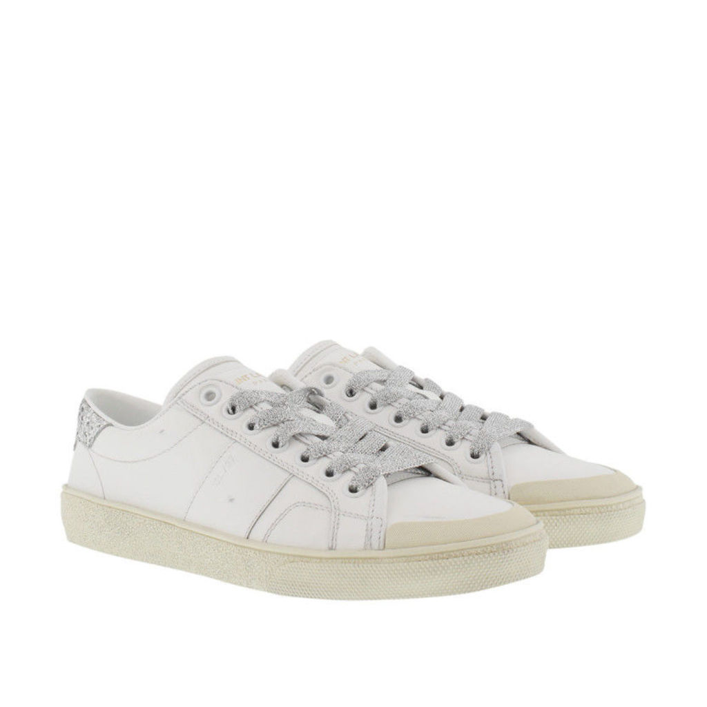 Saint Laurent Sneakers - Sl/37 Signature Court Glitter Galactica Sneaker Offwhite/Argento - in white - Sneakers for ladies
