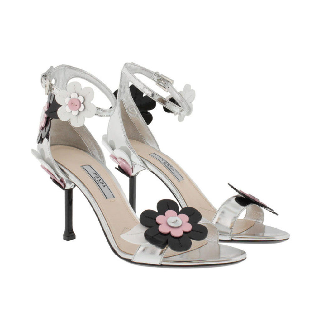 Prada Sandals - Blossom Embellished Patent Leather Sandals Silver - in silver - Sandals for ladies