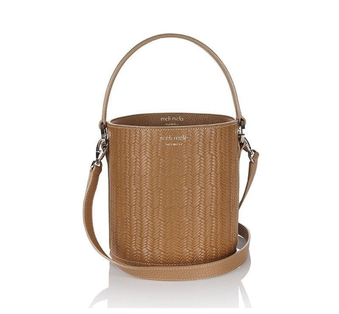 Santina Mini Bucket Bag Light Tan Woven