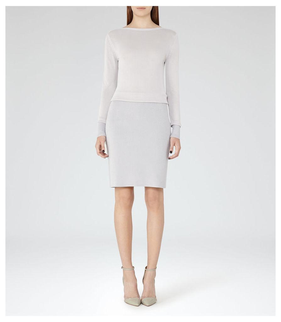REISS Blume - Womens Knitted Dress in Grey