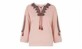 Embroidered Open Neck Sweat