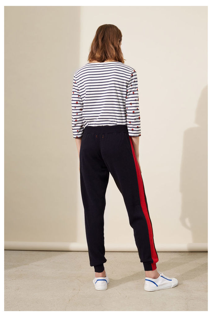 NEW Navy Vertical Stripe Cashmere Track Pants
