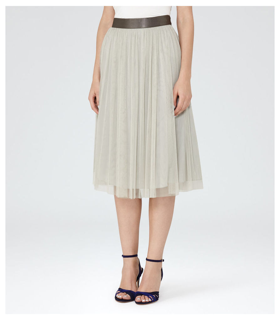 REISS Crystal - Womens Tulle Midi Skirt in Brown