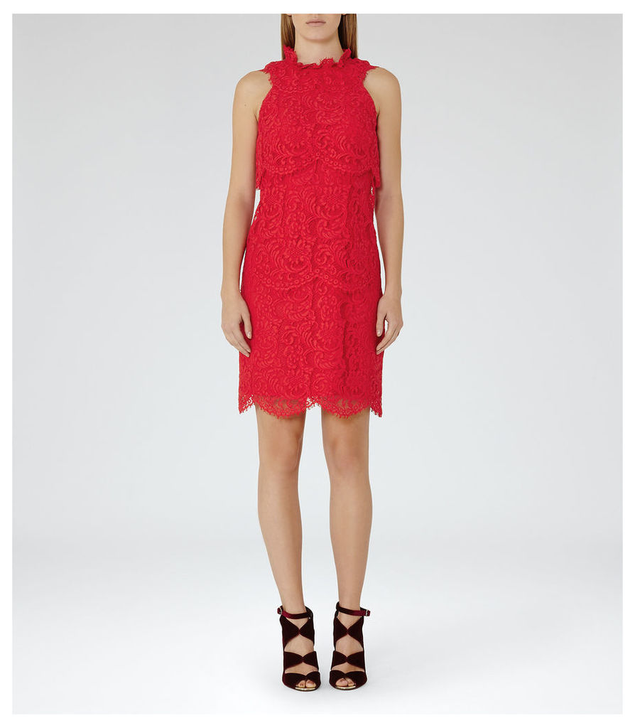 REISS Sophia - Womens Tiered Lace Dress in Red