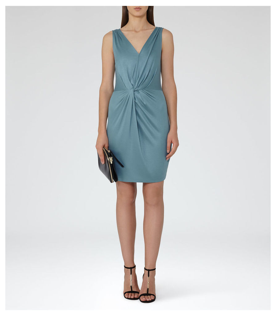 REISS Kiera - Womens Twist-front Dress in Blue