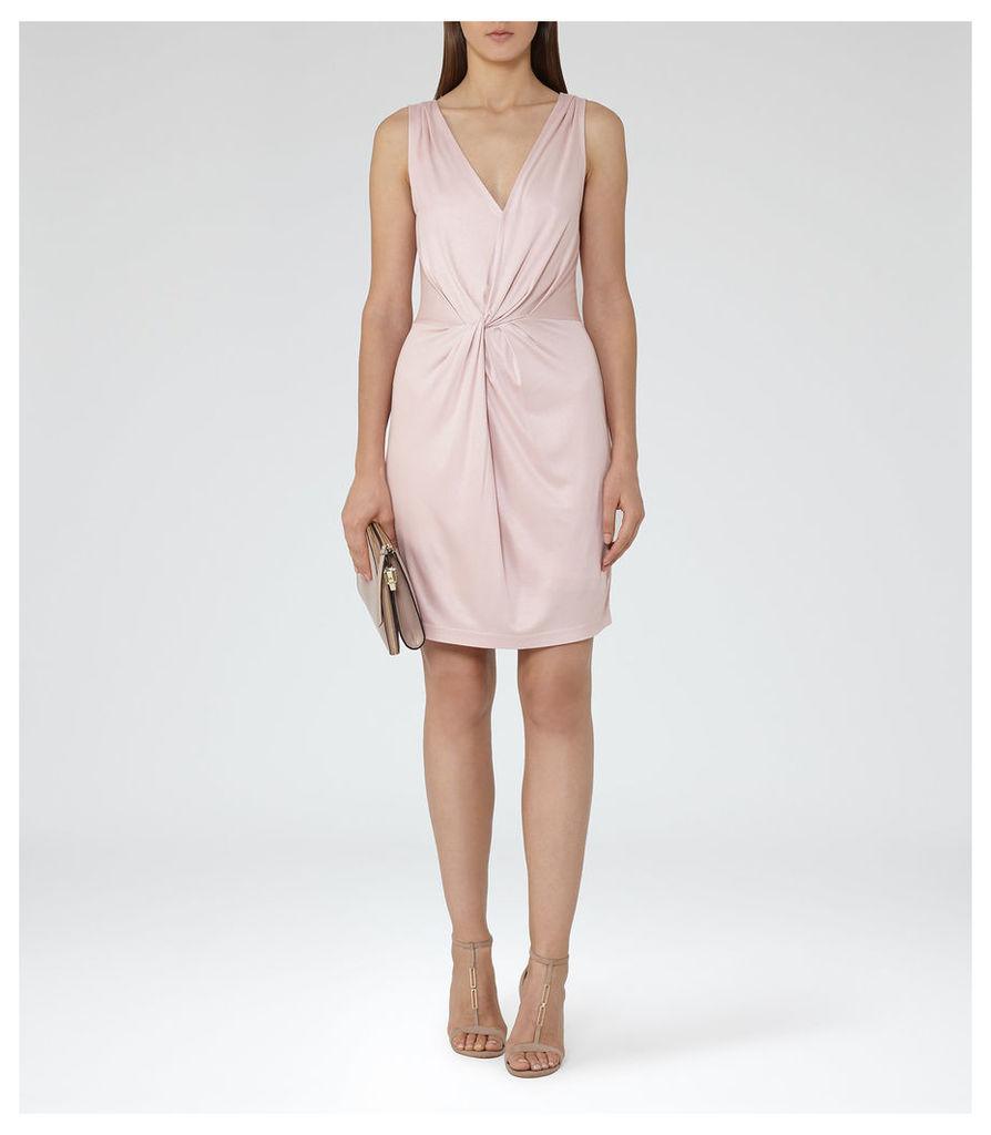 REISS Kiera - Womens Twist-front Dress in Pink
