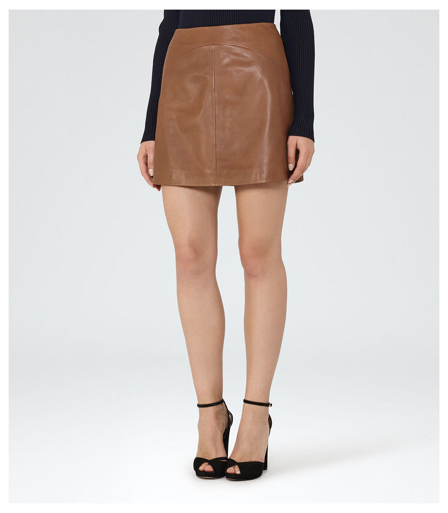REISS Cammie - Womens Leather A-line Mini Skirt in Brown