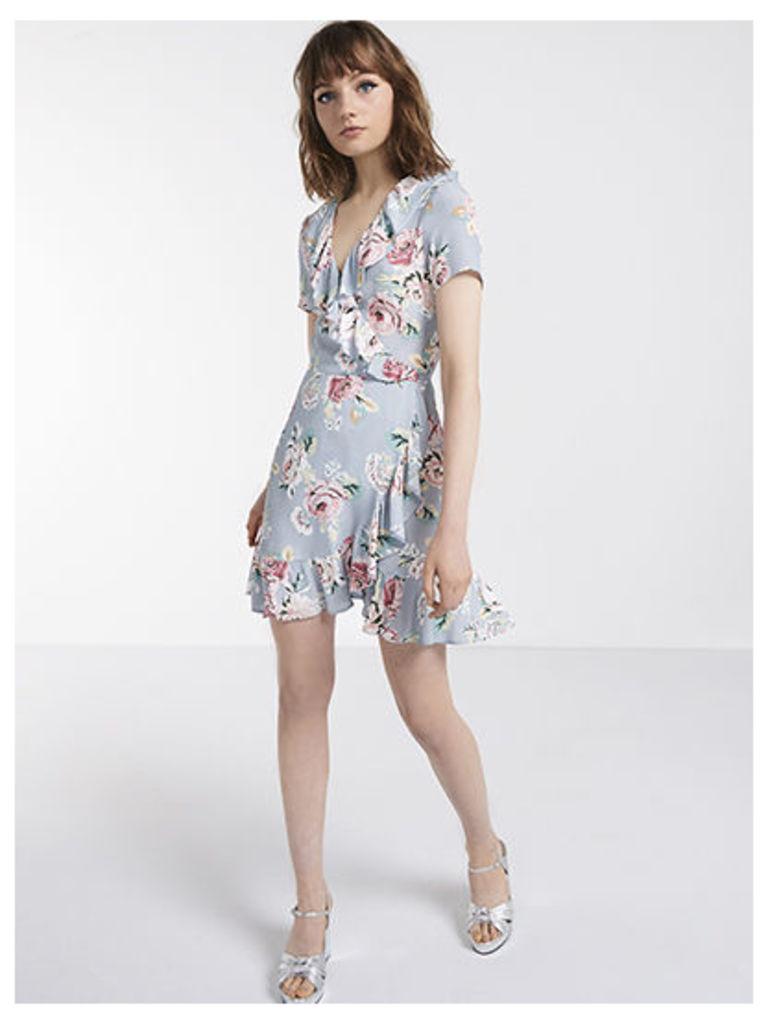 Grey Dylan Vintage Floral Ruffle Wrap Dress