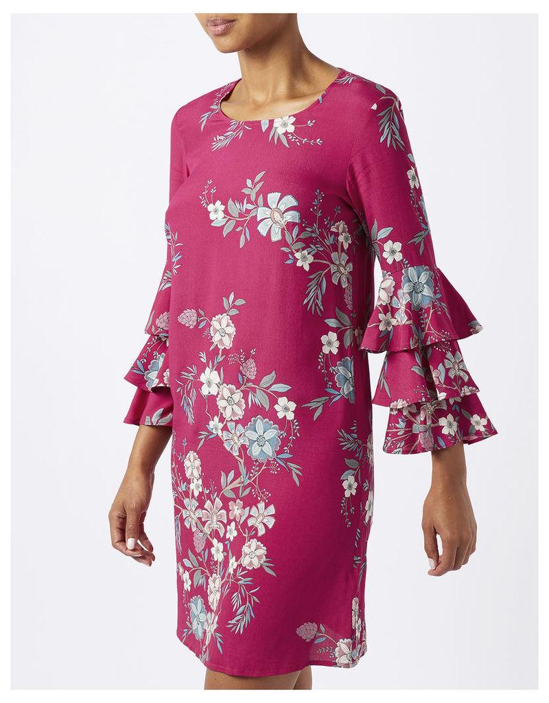 Sabina Print Frill Sleeve Tunic Dress