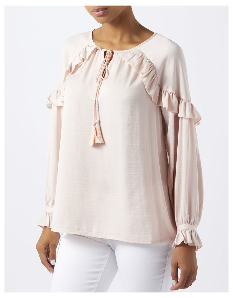Miley Washer Satin Frill Top