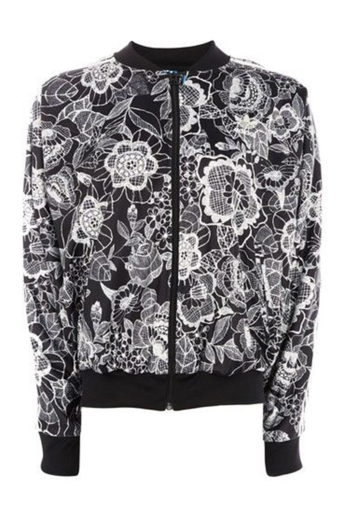 Womens Floral Cape Jacket by Adidas Originals - Monochrome, Monochrome
