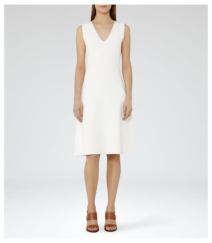 REISS Michelle - Womens Knitted Fit And Flare Dress in White