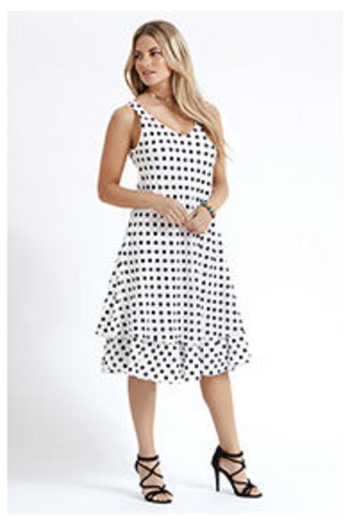 Black & White Polkadot Midi Dress