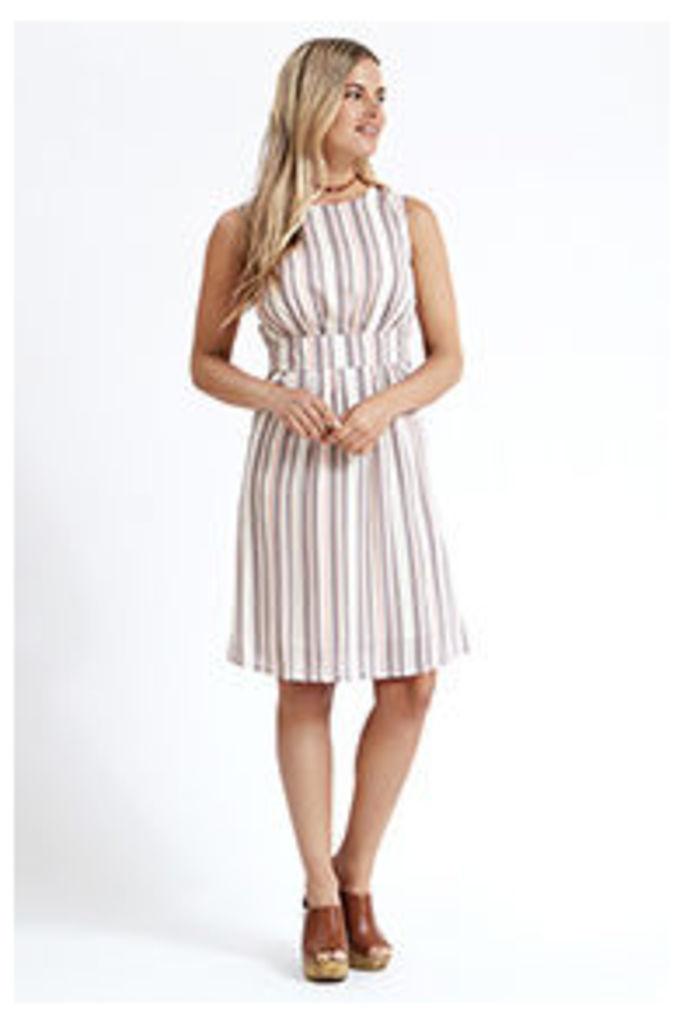 White & Pink Stripe Structured Dress