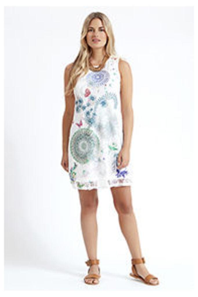 White Kaleidoscope Shift Dress
