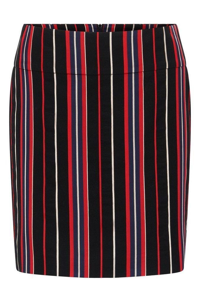 Regular-fit skirt in a striped cotton blend