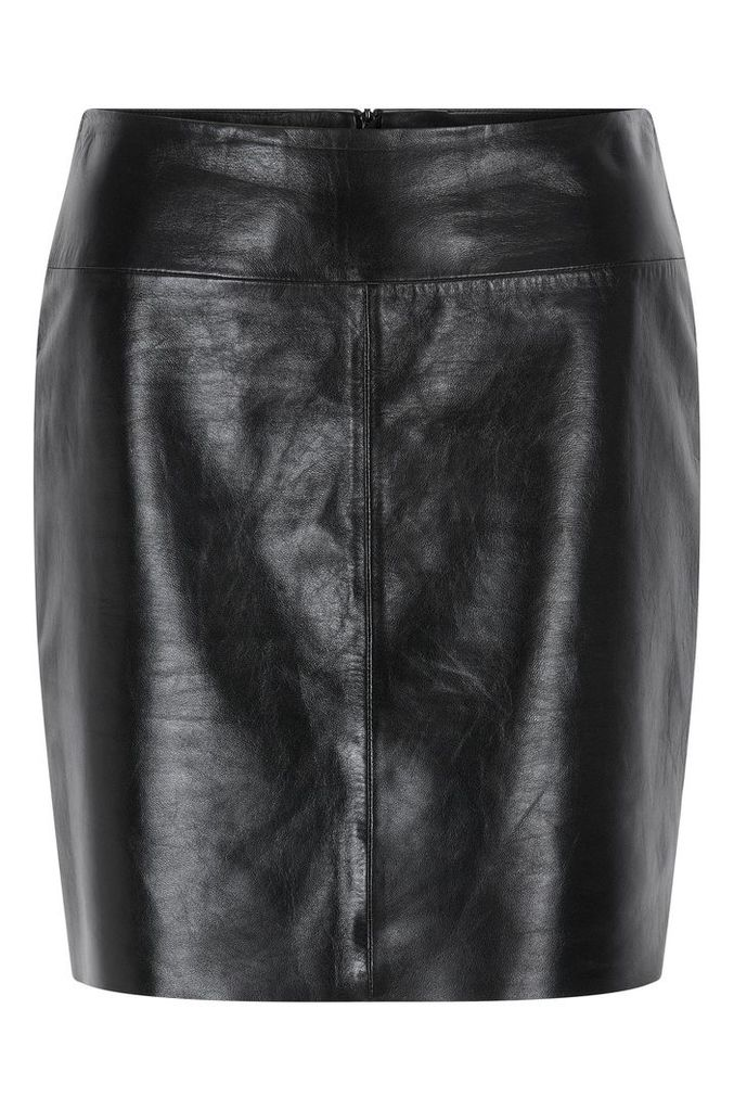 Regular-fit pencil skirt in lacquered leather