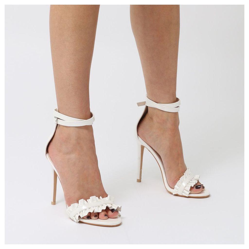 Phoenix Barely There Ruffle Stiletto High Heels  Patent, White