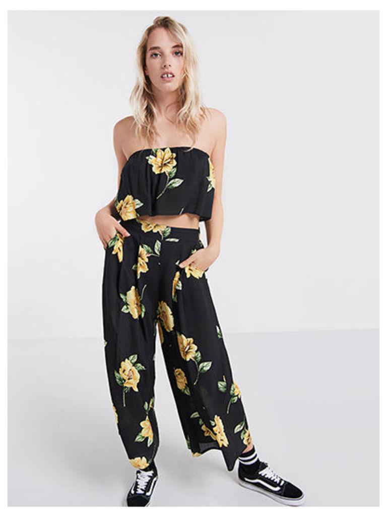 Black Lou Lou Floral Wide Leg Culottes