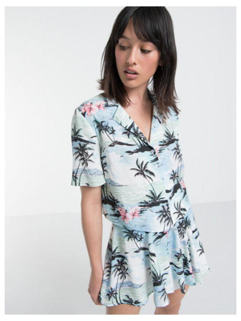 Blue Evie Hawaiian Print Boxy Shirt