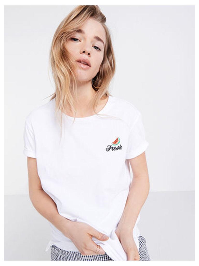 White 'Fresh' Embroidered Slogan T-Shirt