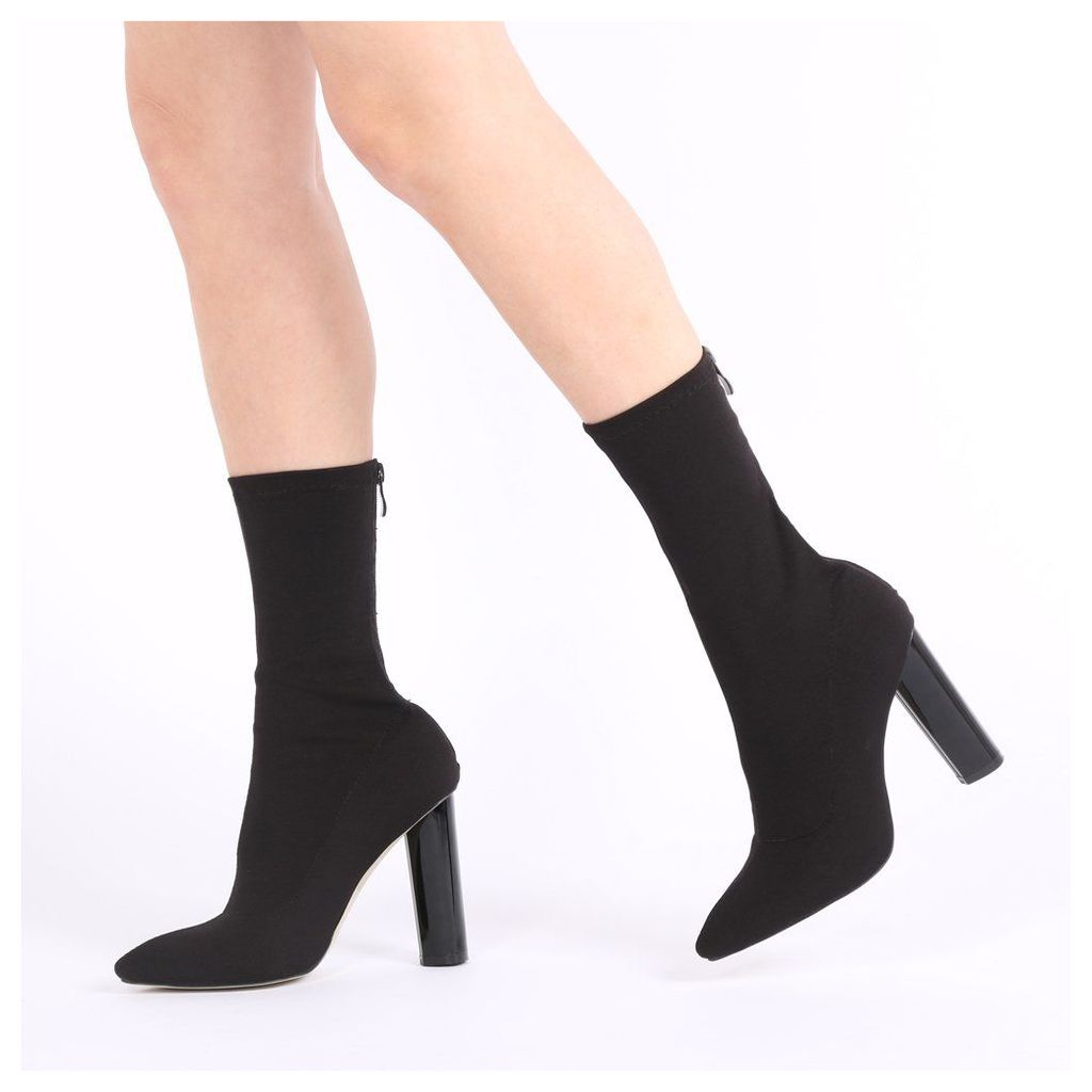 Cayden Heeled Sock Boots  Stretch, Black