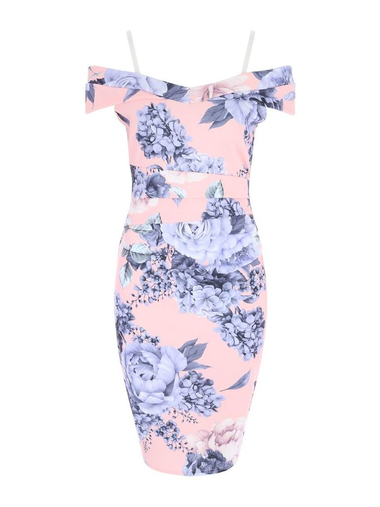 Jane Norman Hydrangea Print Bardot Dress, Multi-Coloured
