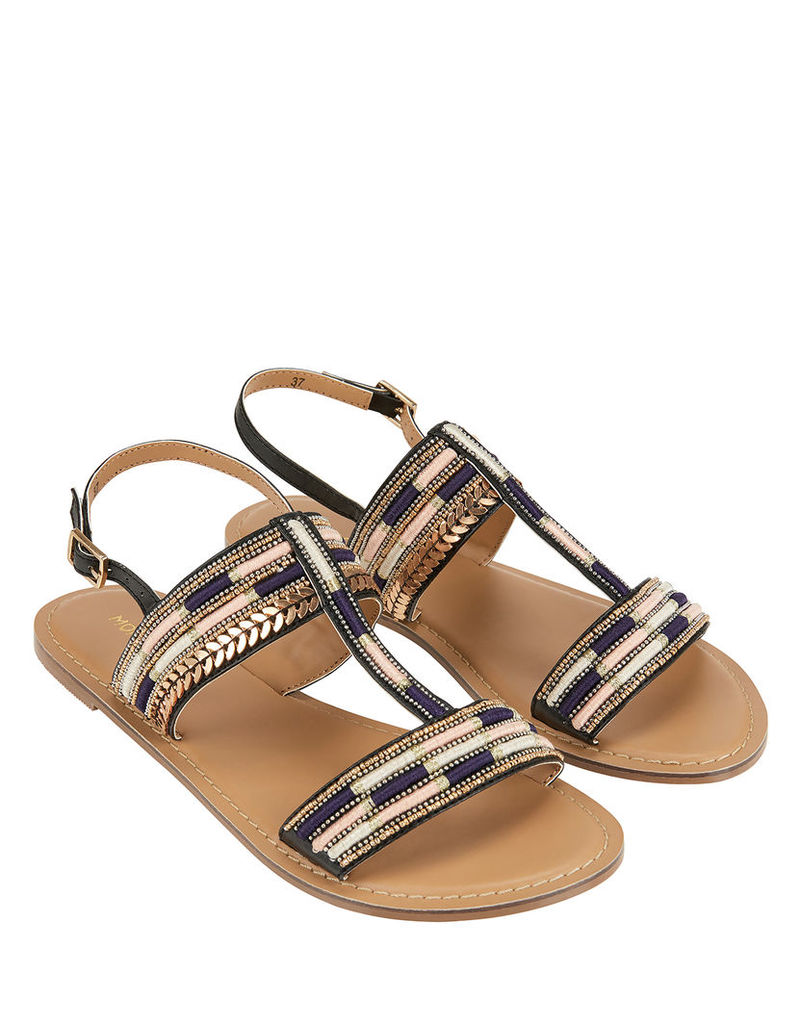 Shiloh Embroidered T-bar Sandals