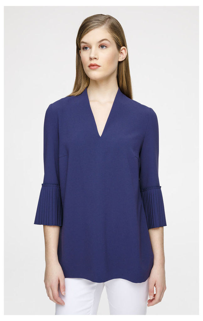 Crepe Blouse with Plissé Sleeves
