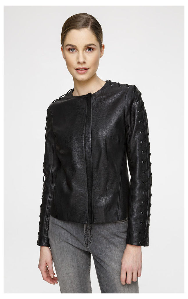 Leather Jacket with Lace-Up Sleeves