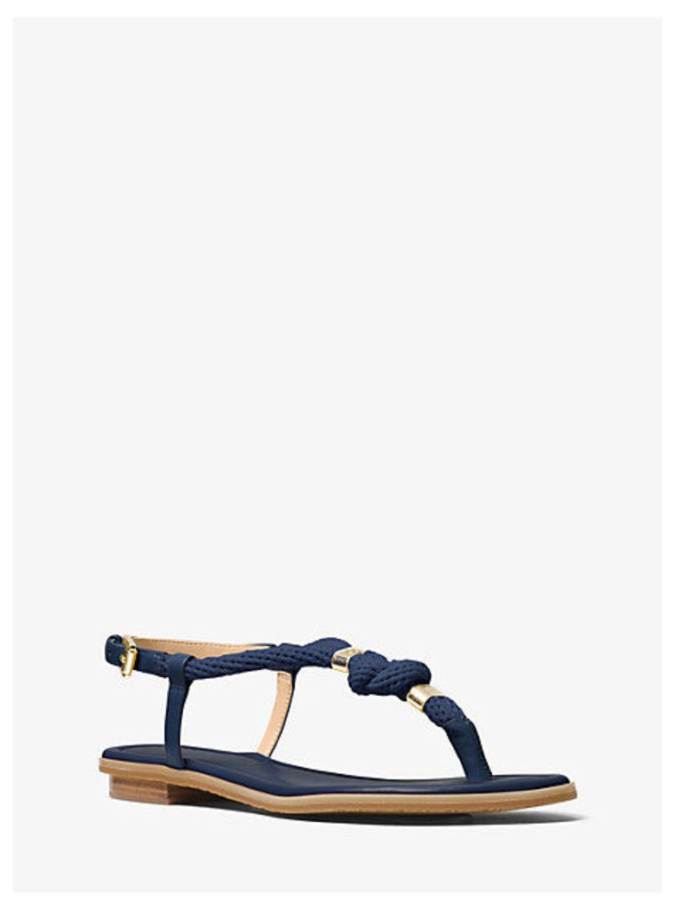 Holly Rope-Trim Leather Sandal