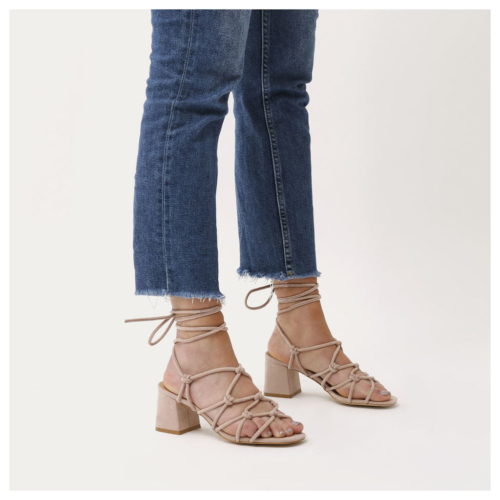 Freya Knotted Strappy Block Heeled Sandals in Blush  Faux Suede, Nude