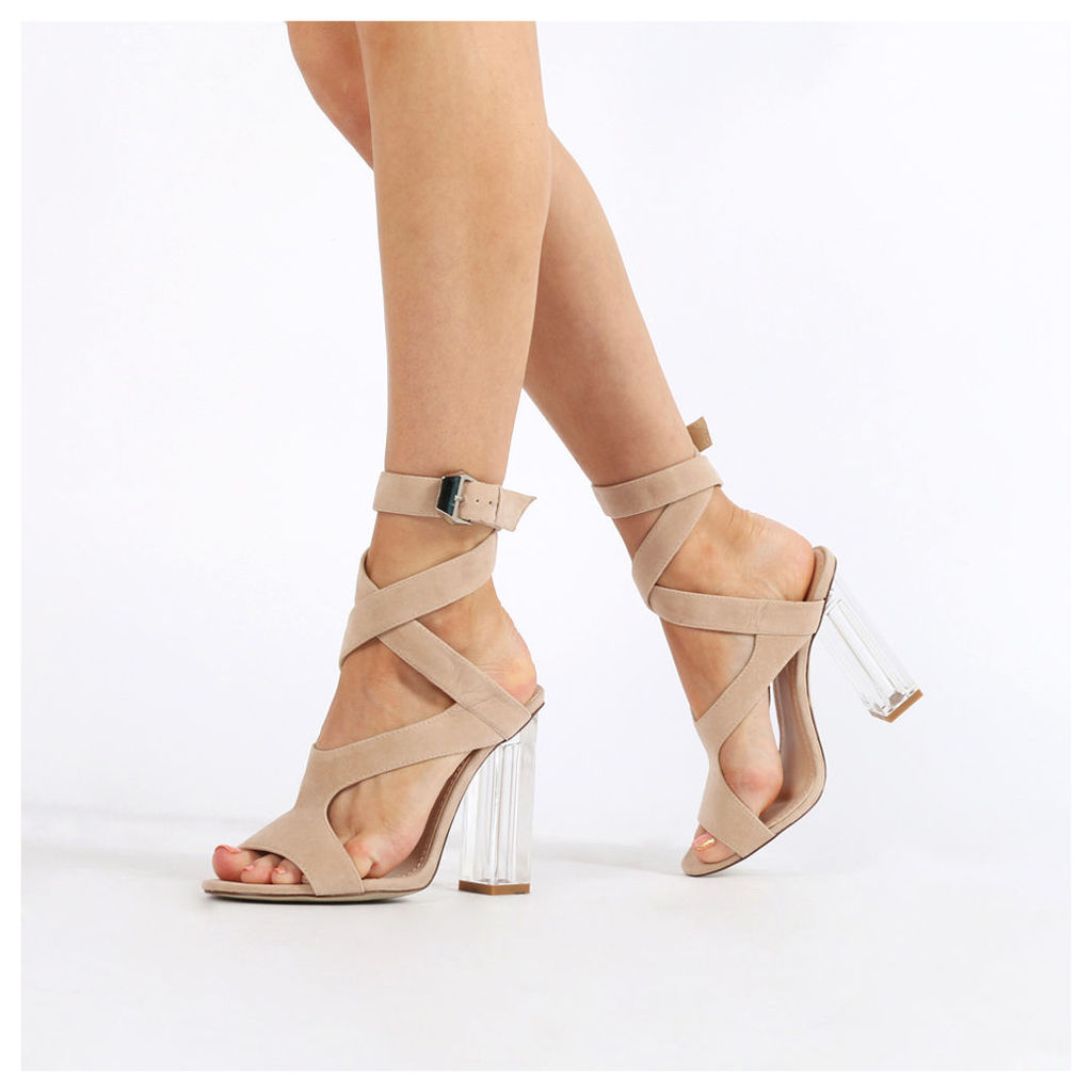 Gloria Perspex Cut Out Heels  Faux Suede, Nude