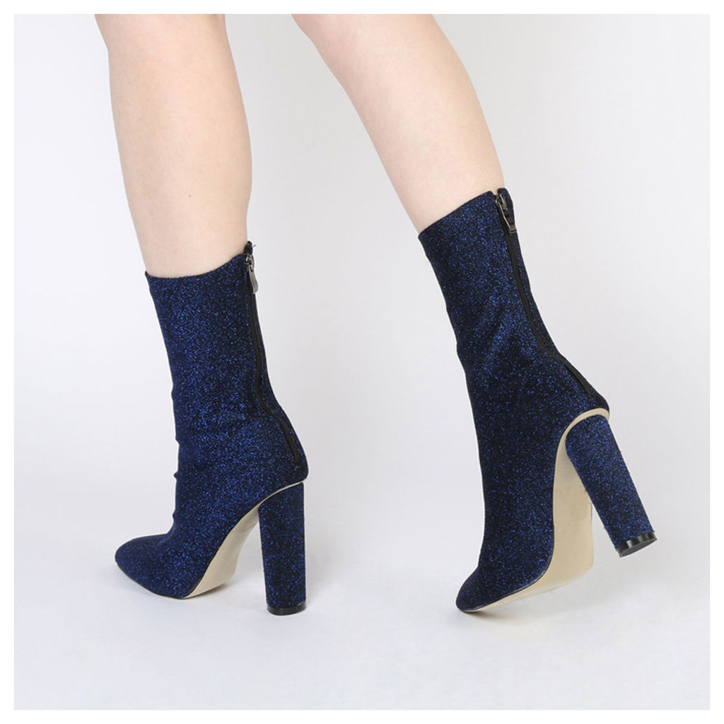 Emily Sock Fit Knitted Boot  Shimmer, Blue