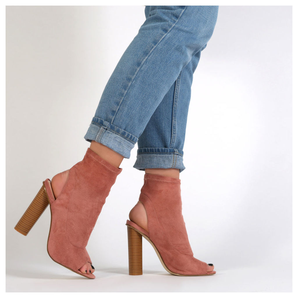 Aliah Cut Out Stacked Heel Stretch Ankle Boots in Rose  Faux Suede, Pink