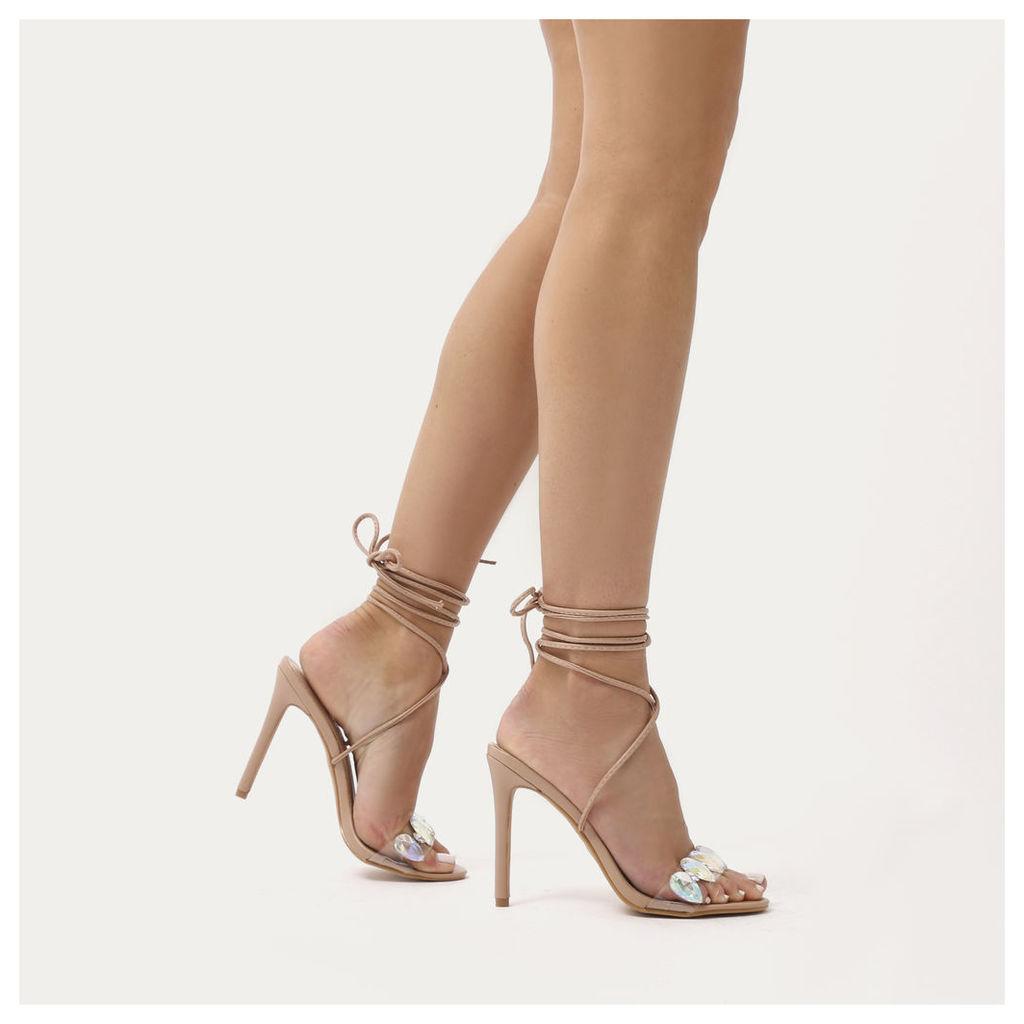 Whisper Lace Up Jewel Embellished Stiletto Heels, Nude