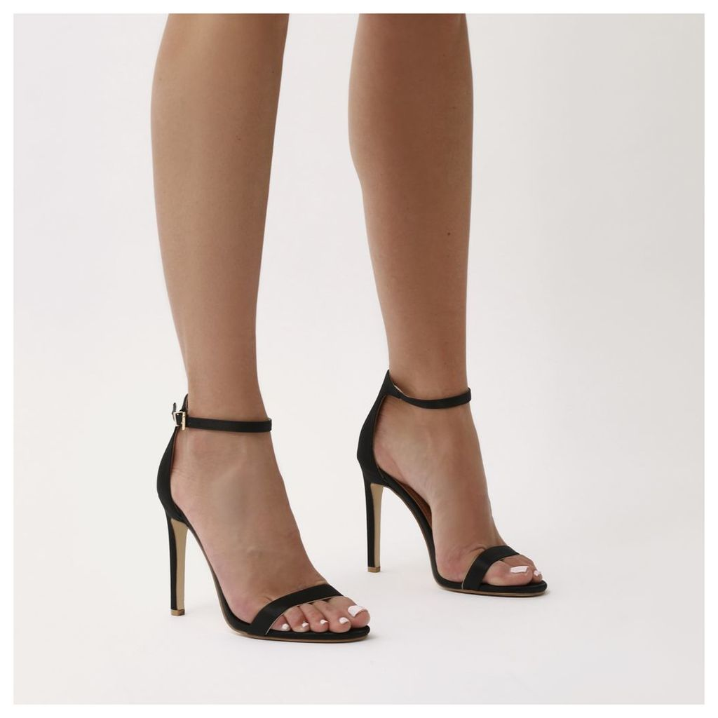 Avril Barely There Heels  Satin, Black